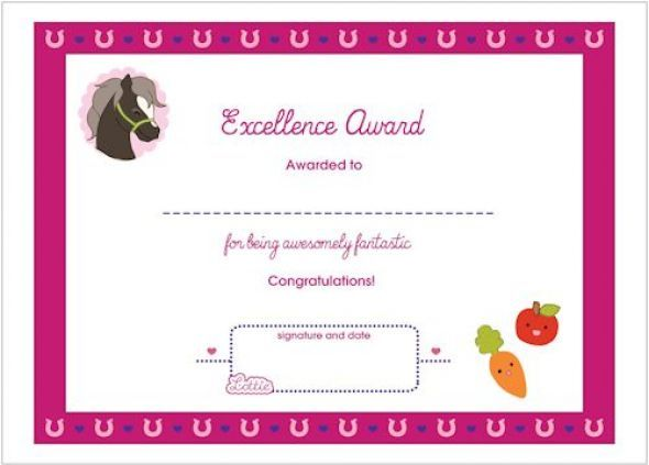 horse themed award certificate for girls free printable fun award summercamp heute. Black Bedroom Furniture Sets. Home Design Ideas