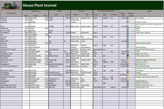 House Plants Journal - Excel and PDF Template, Plants Log