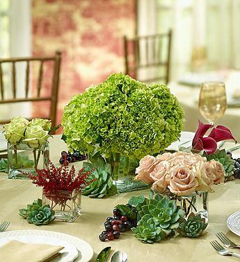 Vineyard #Wedding Flower Centerpiece Package- hand-crafted wedding centerpiece  of fresh lavender roses, white lisianthus, white hydrangeas, purple mini calla lilies and purple dahlias $65.00- $185.00