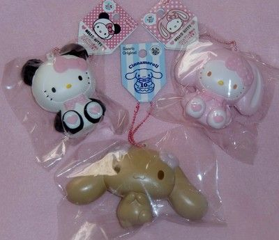 3pcs Lot of Rare Sanrio Hello Kitty & Cinamoroll Squishies Up for Auction On Ebay.