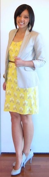 beige shoes brown belt and yellow dress on