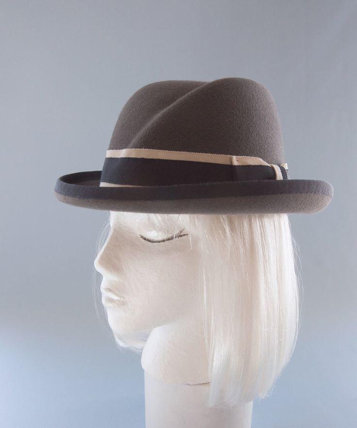 Women S Hat Gray Fur Felt Homburg Women S Fedora Vintage Style Hat Sculpted Crown Navy Beige Ribbon Designer Millinery Bowler Hat