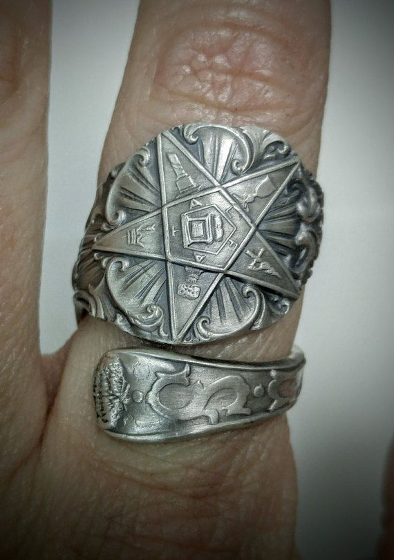 O.E.S. Spoon Ring, Order of the Eastern Star, Masonic Freemason, Sterling Silver, Ruth FATAL, Custom Ring Size, Order of Eastern Star (1540)