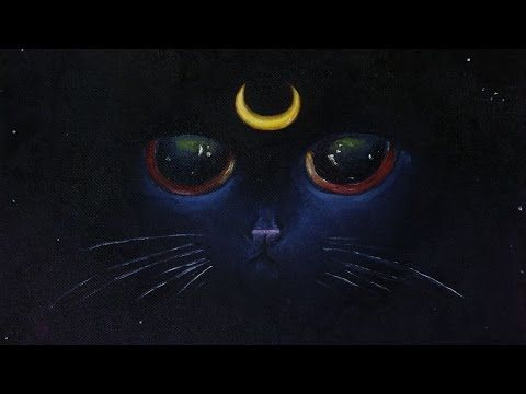Luna the Night Kitten Painting - Speed Art - YouTube