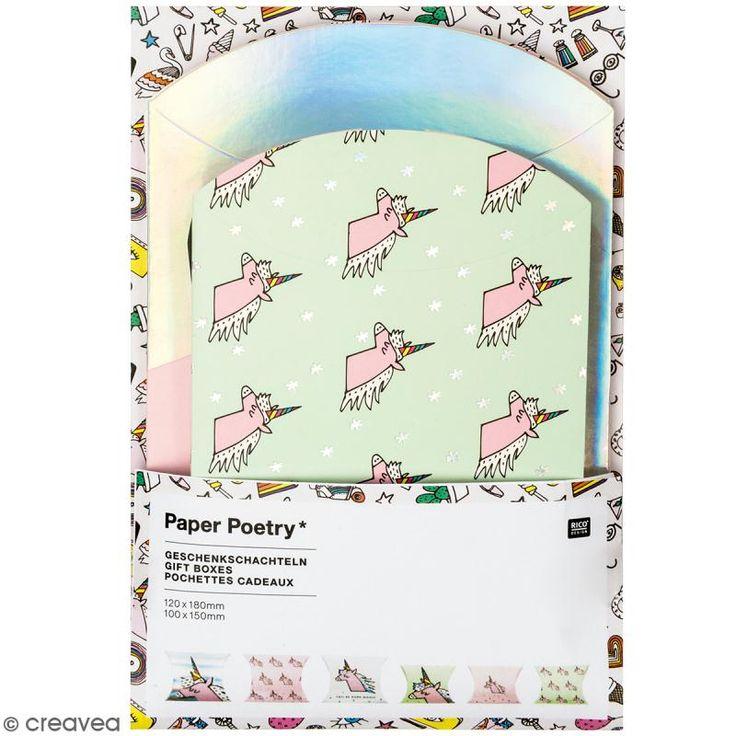 Set de sobres regalo - Magical summer unicornio - 10 X 15 cm et 12 x 18 cm - 6 uds