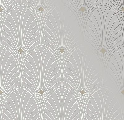 Bradbury Art Deco Designs | Havana Wallpaper in Platinum $67 roll