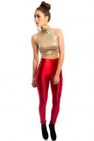 Blondie Super Shiny Disco Pants in Red