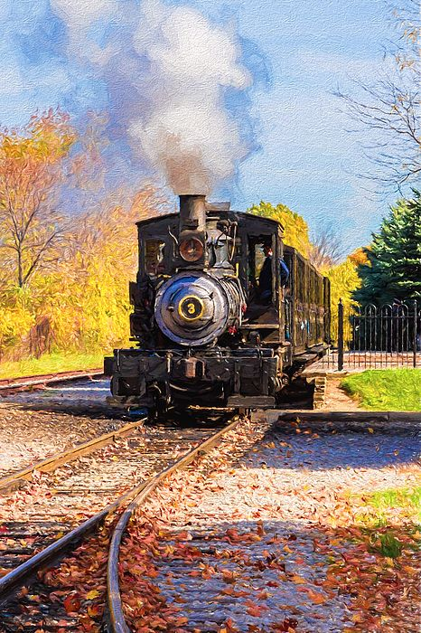 Pulling Into the Station - The number 3 steam engine pulling into the station at Greenfield Village on a beautiful fall day. | Art For Sale from Susan Rissi Tregoning Fine Art Photography – Beautiful Wall Art & Home Decor for your Interior Design needs. Visit --> www.susantregoning.com | #Art #Photography #HomeDecor #SusanTregoning #Trains