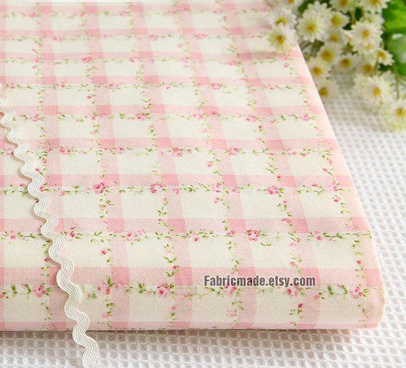 Fiore Shabby Chic cotone tessuto tessuto luce rosa di fabricmade