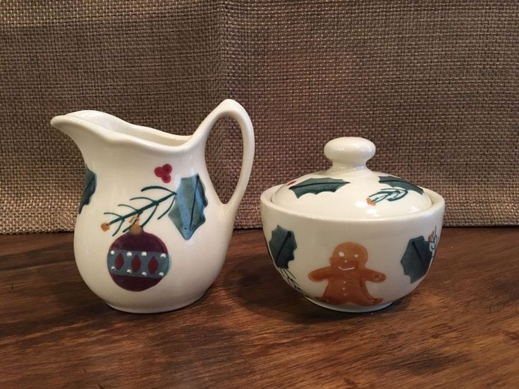 Hartstone Pottery Gingerbread Small Sugar Bowl and Creamer Set #HartstonePottery #Gingerbread