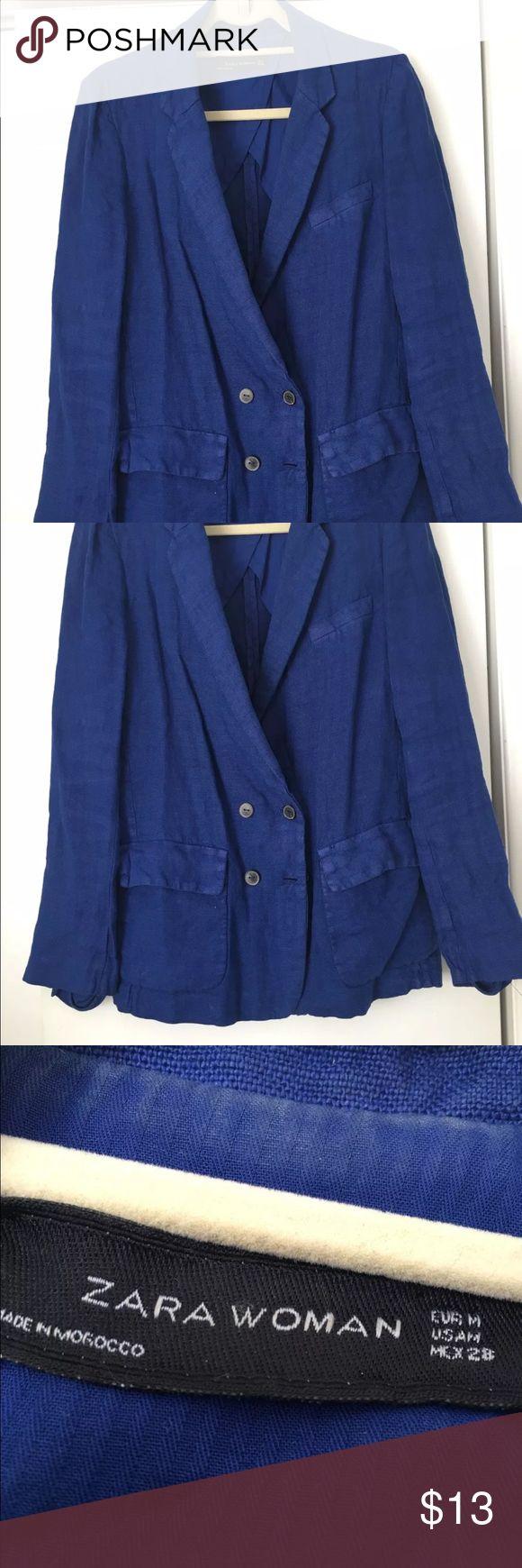ZARA JACKET BLAZER BLUE LINEN & RAYON SIZE  M ZARA JACKET BLAZER BLUE LINEN & RAYON SIZE  M  needs to be steamed Zara Jackets & Coats Blazers