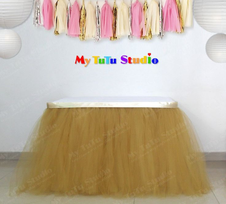 Gold Tulle Table TuTu Skirt For Pink Party Birthday First