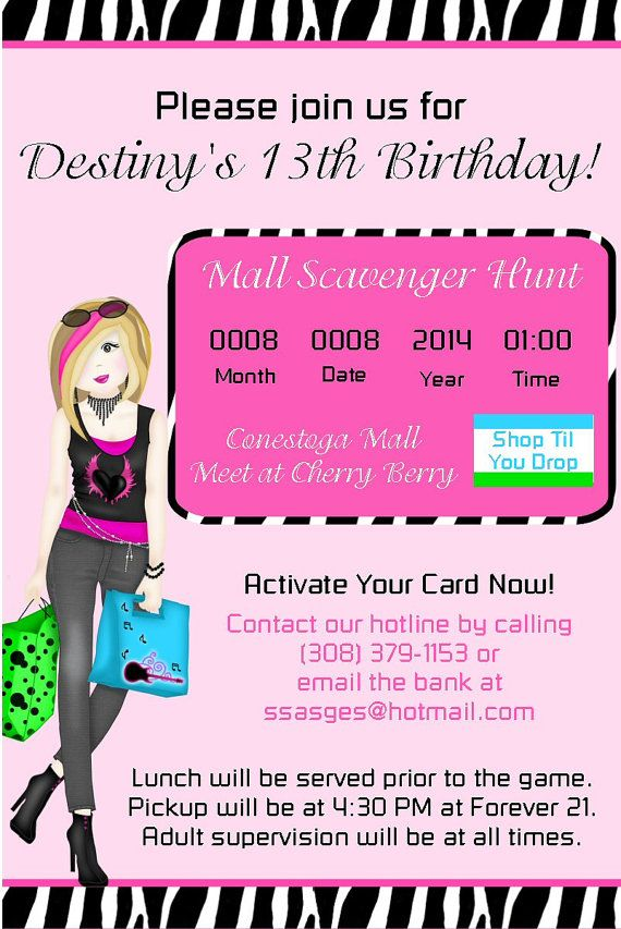Mall Scavenger Hunt Shopping Invitations By