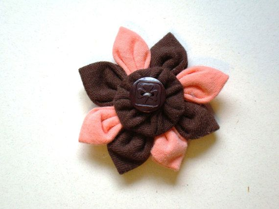 Wear your Guiding colours as a flower!    This flower is made using both the BROWNIES fabrics - brown and peach/orange!