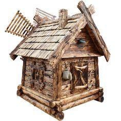 Д-МГ / Мельница на септик или колодец «Дом гнома» / 150х150х250 / доска, бревна, вагонка, коряги, крыша дранка, окна, дверь, труба, съемный верх