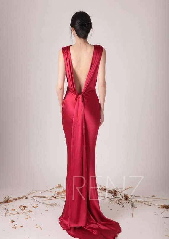 e5fec7d8832 Wedding Dress Red Silk Satin Evening dress Ruby High Draped Neck ...