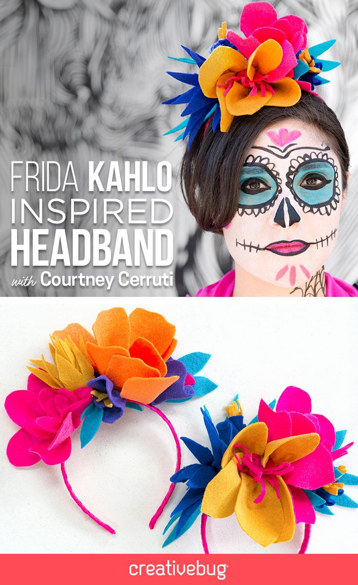 Frida Kahlo inspires us through her art, but her iconic flower headbands are pretty inspirational, too. Courtney demonstrates how to create a flower headband featuring custom-made felt flowers that pop. This piece is great for Halloween, Dia de los Muertos, Cinco de Mayo or any celebration that requires some bold, bright headwear.