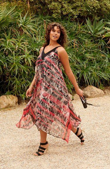 Plus Size Handkerchief Hem Chiffon Dress