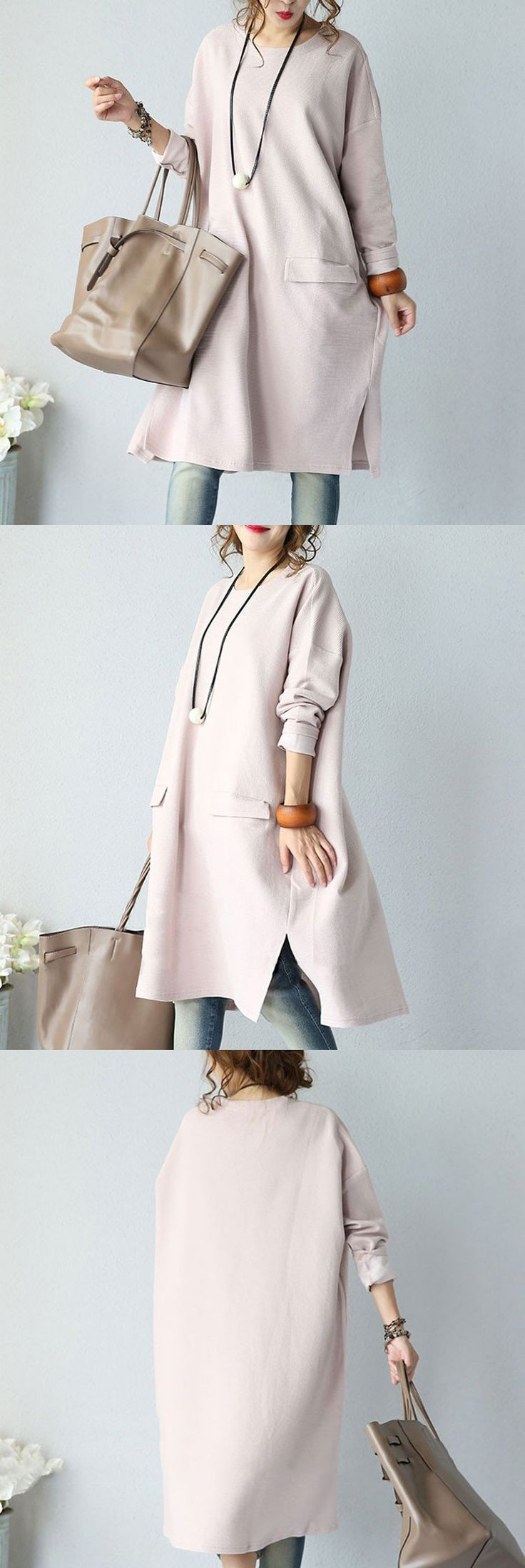 Pink Casual Round Neck Dress