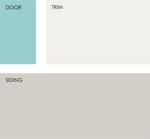 These are the colors I think I want the exterior of my house painted. All Sherwin-Williams colors, Reflecting Pool SW6486, Nuance SW7049 and Mindful Gray SW7016. Reflecting Pool would be for my door. :)