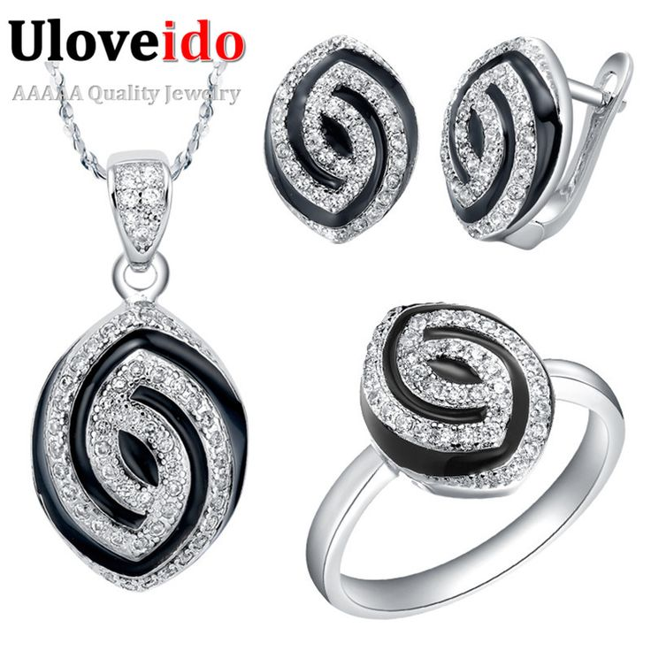 Find More Jewelry Sets Information about Wholesale Silver Plated Jewelry Sets Zircon Fashion Brand Black Enamel Oval Crystal Bijoux for Girl Valentine's Day Gift T173,High Quality gift paper,China gift bags jewelry Suppliers, Cheap jewelry garden from ULove Fashion Jewelry Store on Aliexpress.com