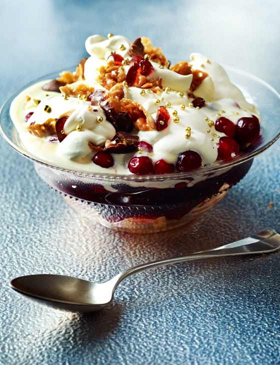 Cheat's Christmas cranberry trifle