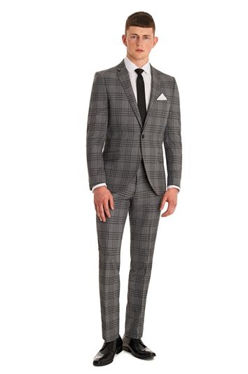Moss London Slim Fit Grey Check Suit