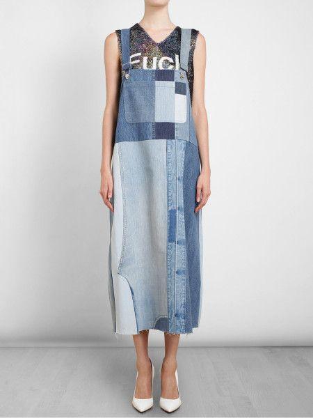 Ashish Oversized Patchwork Denim Dress in Blue (denim) | Lyst