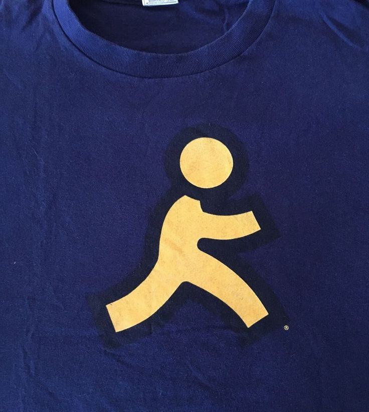 Vintage AOL America Online Running Man Novelty T-Shirt Geek