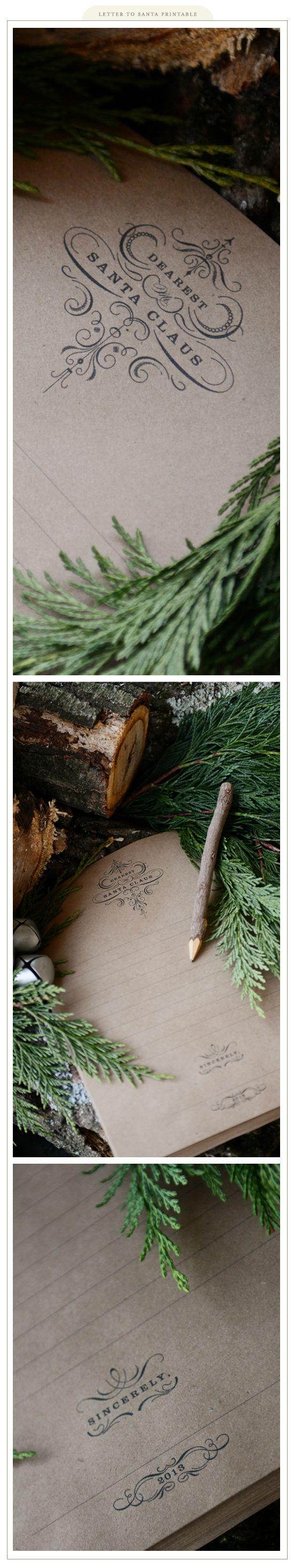 Imprimible: carta a Papa Noel de estilo elegante >> Letter to Santa Printable