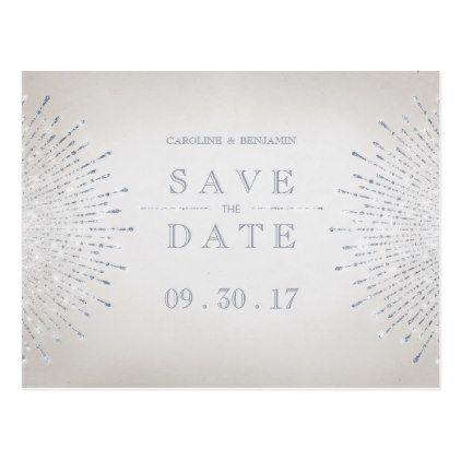 #savethedate #postcards - #Silver glitter deco vintage wedding save the date postcard