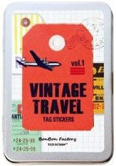 Vintage Travel Sticker Tin | Paper Products Online