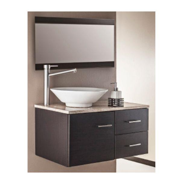 Gabinete de baño con 2 cajones y 1 puerta.  Medidas 76.2 x 47.24 x 35.6 cm de alto. Empotrable.  Termo formado color ébano. Incluye placa de travertino. Ovalín de porcelana. Espejo y llave mezcladora.
