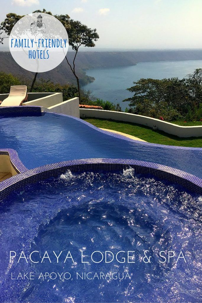 Family Hotel Review: Pacaya Lodge and Spa, Lake Apoyo, Nicaragua.   A luxury boutique hotel and spa, with spectacular views of Lake Apoyo and Volcano Mombacho. There are lots of luxury resorts in Nicaragua's beach destinations but few in locations that are unique to Nicaragua, namely its lakes and volcanoes. Pacaya Lodge is the first and only five-star resort at Laguna de Apoyo, a volcanic crater lake wedged between Masaya and Granada. It's new, so new that we were among the first guests.