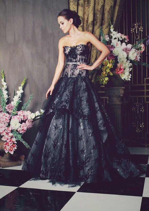 alternative black lace wedding dress on Bridal Musings