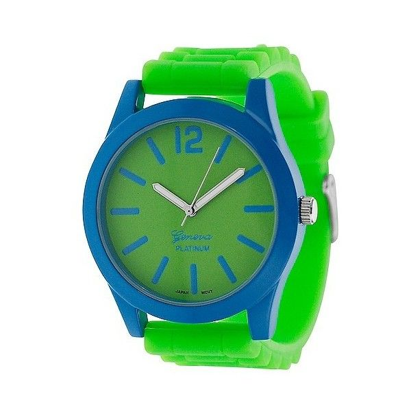 Women's Geneva Platinum Neon Pop Silicone Watch ($20) ❤ liked on Polyvore featuring jewelry, watches, lime, neon jewelry, platinum jewelry, platinum jewellery, lime green watches and lime green jewelry