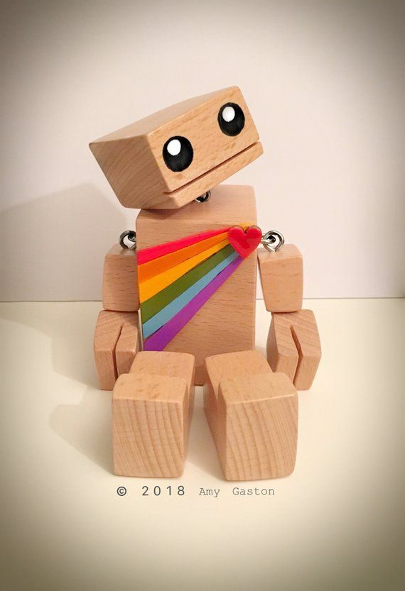 5″ Solid Beech RainbowBot – The Little Wooden Robot – FREE Personalisation