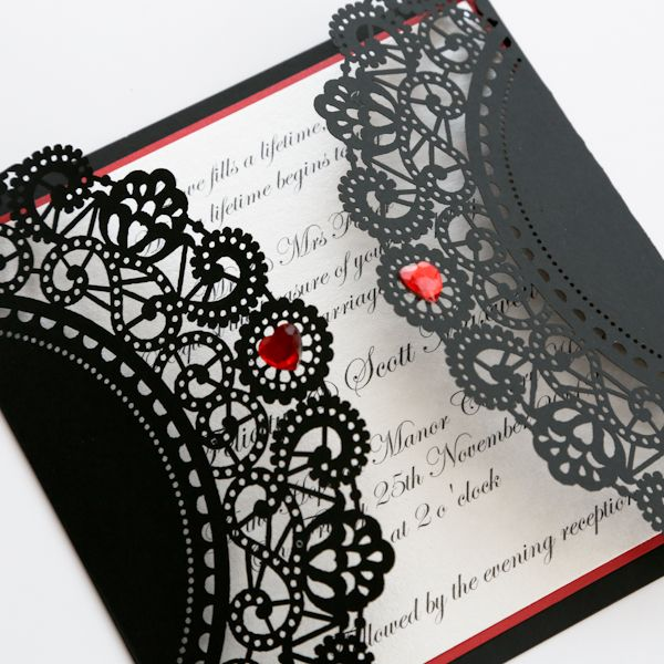 Vintage Style Lasercut Black & red Lace Doily Invitation - Vintage Wedding Stationery Scotland