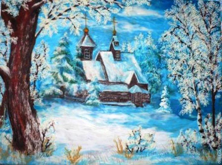 Зимний пейзаж в технике пластилинографии - Ярмарка Мастеров - ручная работа, handmade