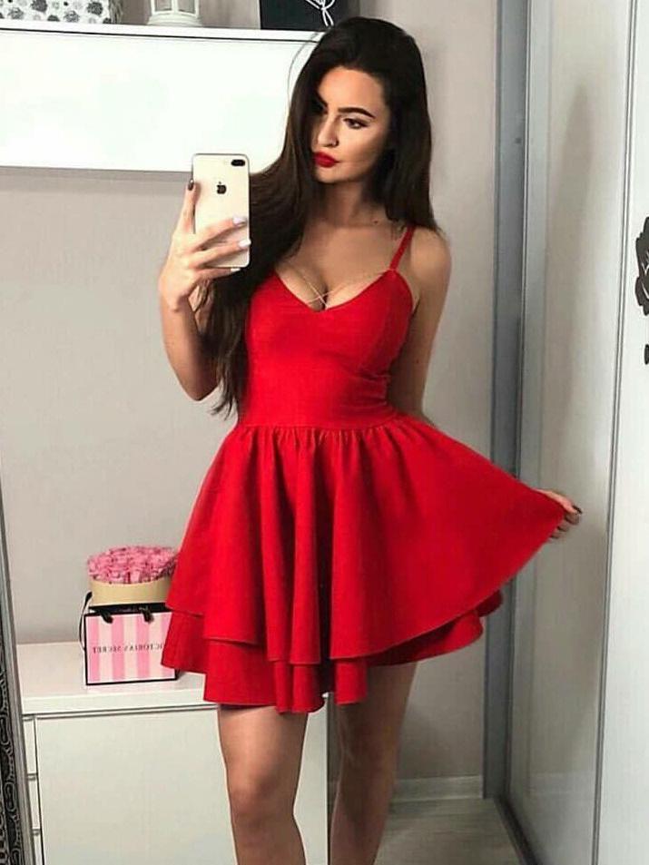 422e5bff98 Red Mini Homecoming Dresses Spaghetti Strap A Line Short Hoco Dress ARD1584