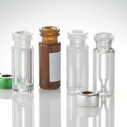 300ul Amber plastic vial with fused glass insert, 12x32mm, Crimp or Snap (PK/1000) Partnumber: VI-02-12-02RVGA