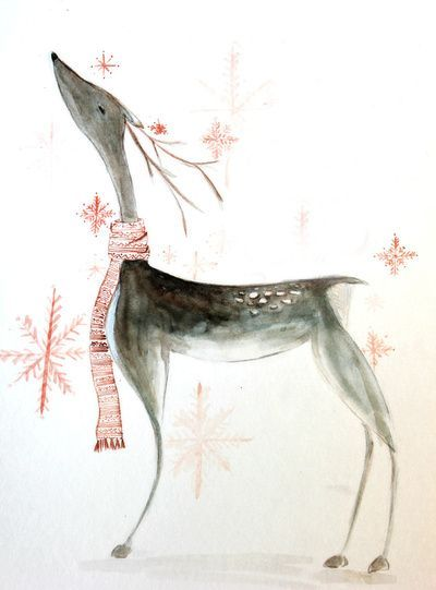 Beautiful Things..., umla: (via reindeer watercolor Stretched Canvas...