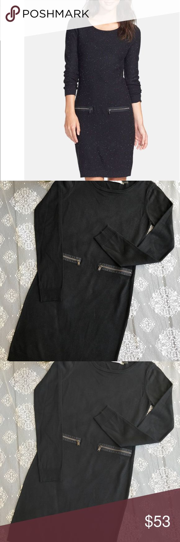 "NWOT Marc New York / Andrew Marc from Nordstrom Fitted long-sleeved, black color sweater dress with zipper details on the front. It's true size. 100% acrylic,  bust 16"", length 34"".  I'm accepting all reasonable offers using the offer button & Thank you. Andrew Marc Dresses Midi"