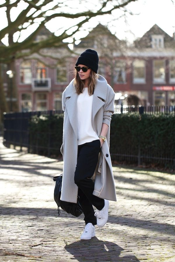 grey oversized coat + white sweater + black trousers + white sneakers + black beanie