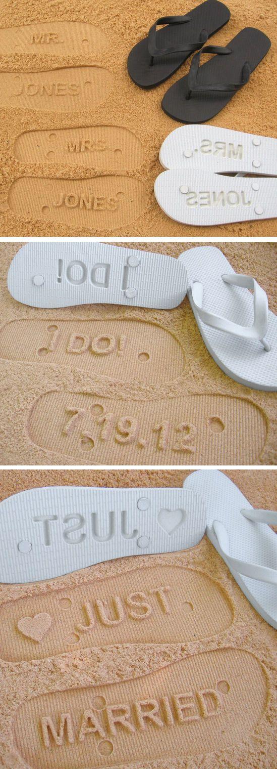 Personalized Sand Imprint Wedding Flip Flops ♥