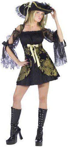 Ladies Golden Sexy Pirate Costume