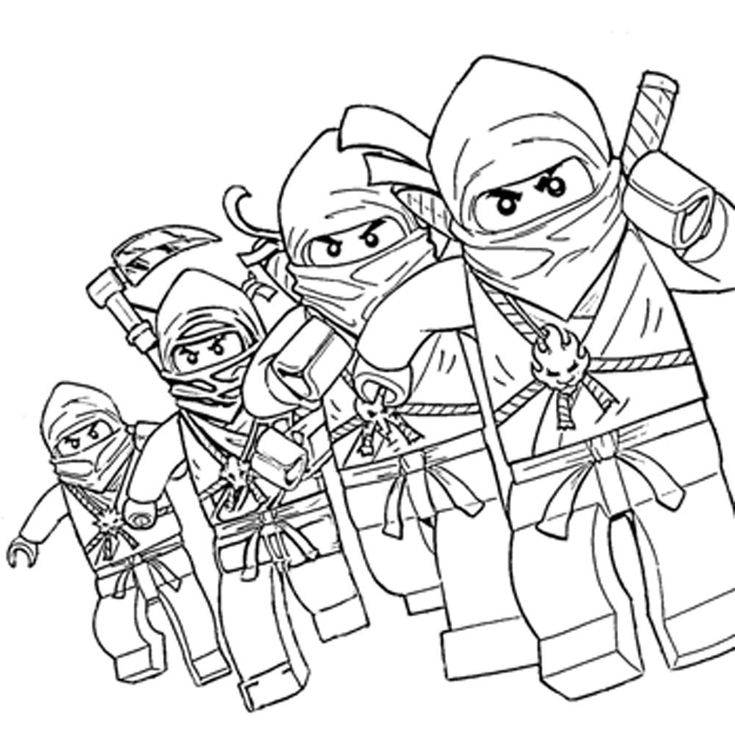 Lego Ninjago Characters Coloring Pages Printable Kids Colouring