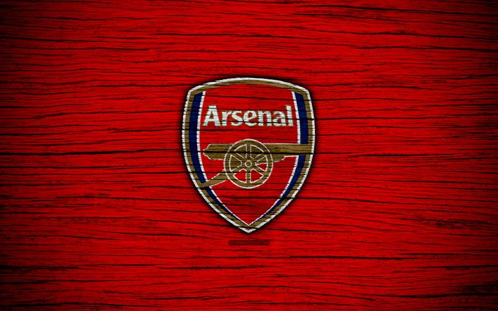 Download wallpapers Arsenal, 4k, Premier League, logo, England, wooden texture, The Gunners, FC Arsenal, soccer, football, Arsenal FC