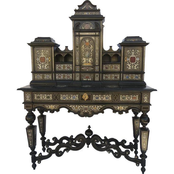 Italian Baroque Hardstone Inlaid Ebonized Cabinet Desk Speciman. MarquetryAntique  FurniturePainted ...
