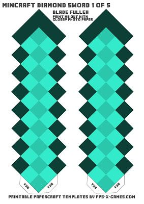 Minecraft diamond sword template one of five